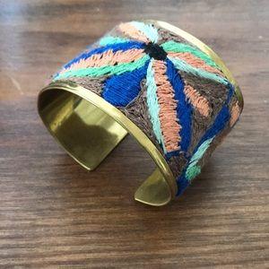 Gorgeous cuff bracelet w/ amazing threaded detail